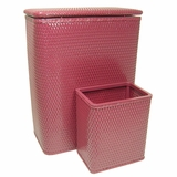 CHELSEA COLLECTION HAMPER AND MATCHING WASTEBASKET SET in RASPBERRY by Redmon