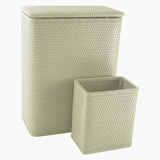 CHELSEA COLLECTION HAMPER AND MATCHING WASTEBASKET SET in SAGE GREEN by Redmon