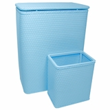 CHELSEA COLLECTION HAMPER AND MATCHING WASTEBASKET SET in SKY BLUE by Redmon