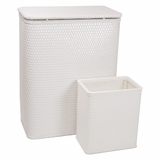 CHELSEA COLLECTION HAMPER AND MATCHING WASTEBASKET SET in WHITE by Redmon