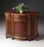 "Cherry And Red Paint Console Cabinet 39""W by Butler Specialty"