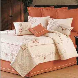 Cherry Blossom Cotton  Quilt Luxury Os Queen  Bedding Ensembles Brand C&F