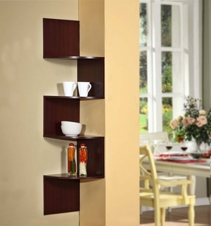 Cherry Colored Authentic Hanging Cornered Storage Shelf by 4D Concepts