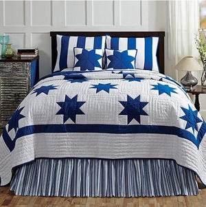 Chesapeake Queen Quilt in Navy Blue Le Moyne Star Pattern Brand VHC