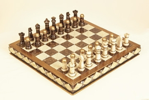Chess Set with Board in Box, Pewter Chess Set in Brown and Ivory Brand Woodland