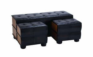 Chic And Modern Bench Set of 3 With Comfort Leather Brand Woodland
