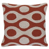 "Chic and Neat Circles Red Gray Hooked Pillow 16x16"" by 123 Creations"