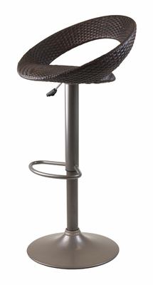 Chic Bali Airlift Stool with Brown Woven Seat by Winsome Woods