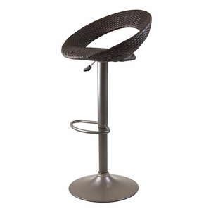 Winsome Wood Chic Bali Airlift Stool with Brown Woven Seat