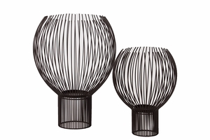 Chic & Glorious Design Metal Abstract Candle Holder Set of Two