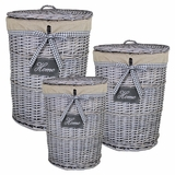 Chic Looking Storage 3pc Round Willow Hamper by Entrada by Entrada
