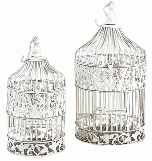 Chic Metal Round Parakeet Birds Cages in White  - Set of 2 Brand Woodland