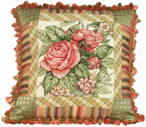 Chic Spring Rose Petit Point Pillow by 123 Creations