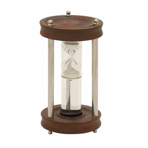 Chick Wood Aluminum Glass Floating Sand Timer - 24531 by Benzara