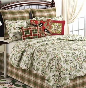 Chickadee Dust Ruffle King 78x80+ 18 Inches Drop Brand C&F