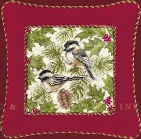 Chickadee Needlepoint Red Border Pillow 16 x16 Inches Brand C&F