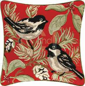 Chickadee Tufted Red Bird Pillow 18 x18 Inches Brand C&F