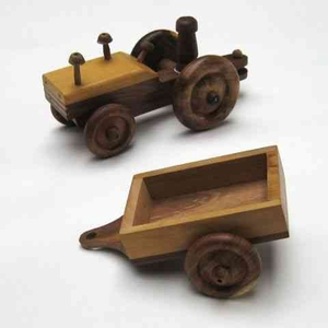 Childrens Tractor Trailer - Solid Wood Childrens Toy Tractor Brand IOTC