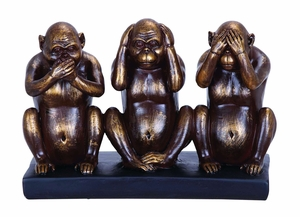 Chimp Speak, See, Hear No Evil Sculpture In Polystone Cast Brand Woodland