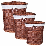 Chinese Inspired 3pc Oval Willow Hamper by Entrada by Entrada