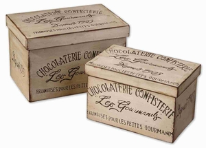 Chocolaterie Decorative Box Set With Aged Ivory Finish Brand Uttermost