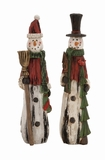 "Christmas Cheers Polystone Snowmen Set of 2 Assorted 3""W, 16""H by Woodland Import"