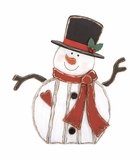 """Christmas Decor Wood Metal Snowman 31""""W, 34""""H by Woodland Import"""