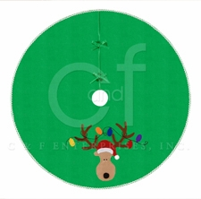 Christmas Lights Reindeer Themed Wrap Around Holiday Tree Skirt Brand C&F
