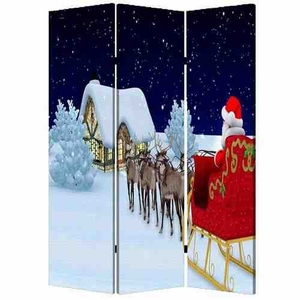 Christmas Screen, 3 Panel Canvas Screen, 48 Inch L X 72 Inch H Brand Screen Gems