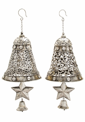 Christmas Silver Metal Bells With Star 2 Assorted Holiday Decor