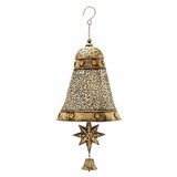 "Christmas Spirit Metal Golden Bell Decor 12""W, 28""H by Woodland Import"