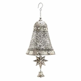 "Christmas Spirit Metal Silver Bell Decor 12""W, 28""H by Woodland Import"