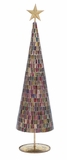 "Christmas Tree With Mosaic Mirrors and Golde Star 27"" Height Holiday Decor"