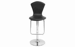 Chrome Metal and Leather Bar Stool, Accent Furniture Decor Brand Woodland