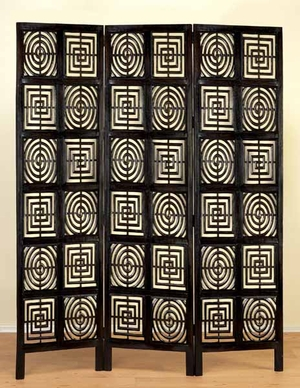 Circles and Square Wood Room Divider Carved Screen in Black Brand Woodland