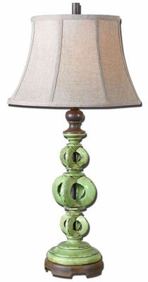 Civita Crackled Green Table Lamp with Bronze Detailing Brand Uttermost