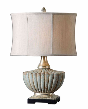 Civitella Blue Ceramic Lamp with Detailing in Silver Brand Uttermost