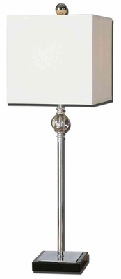 Civo Metal Chrome Buffet Lamp in Off White Color Brand Uttermost