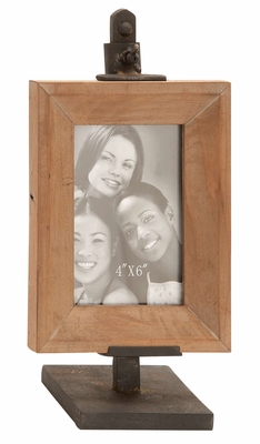 Clamped Tall Photo Frame - Clever Photo Frame With Iron Clamp Brand Woodland