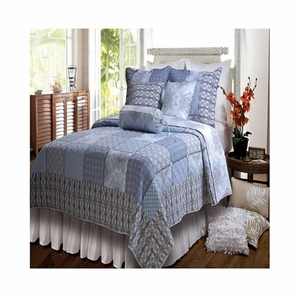 Claremont Collection Casa Azure Blue Color King Sham by Greenland Home Fashions