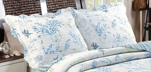 Claremont Collection Coral Blue Color King Sham by Greenland Home Fashions