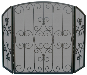 Classic 3 Fold Graphite Screen with Decorative Scrollwork