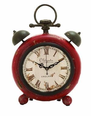 Classic Alarm Clock Themed Table Top Clock In Steel Alloy Brand Woodland