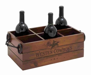 Classic American Cowboys Themed Wooden Metal Wine Holder Brand Benzara
