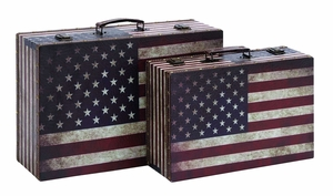 Classic American Flag Luggage Set With Aged Leather Brand Woodland