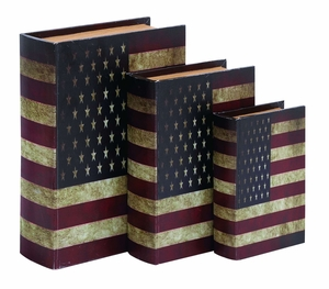 Classic American Style Book Box Set With Aged Leather Brand Woodland