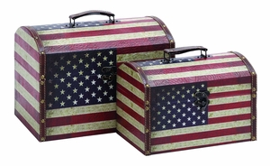 Classic American Treasures Storage Box Set With Aged Leather Brand Woodland
