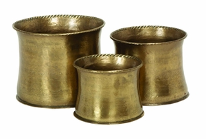 Classic and Antiqued Brass Metal Rim Pattern Planters - Set of 3 Brand Woodland