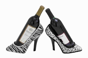 Classic and Elegant Polystone Shoe Fabric Wine Holder 2 Assorted Brand Woodland