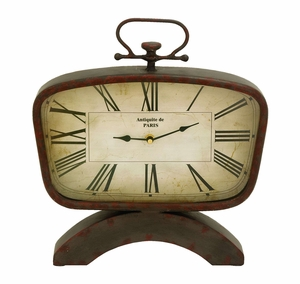 Classic And Modern Table Top Clock In Steel Alloy Brand Woodland